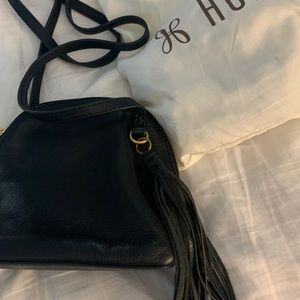 Black Leather Hobo Crossbody with Tassel.